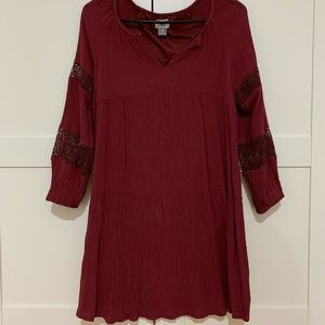 Old navy maroon lace tunic dress